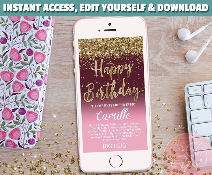 happy birthday electronic card phone card rose gold gold