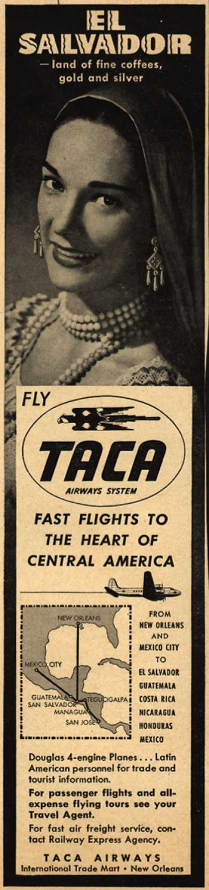 TACA Airways System's El Salvador – El Salvador -land of fine coffees, gold and silver (1948)