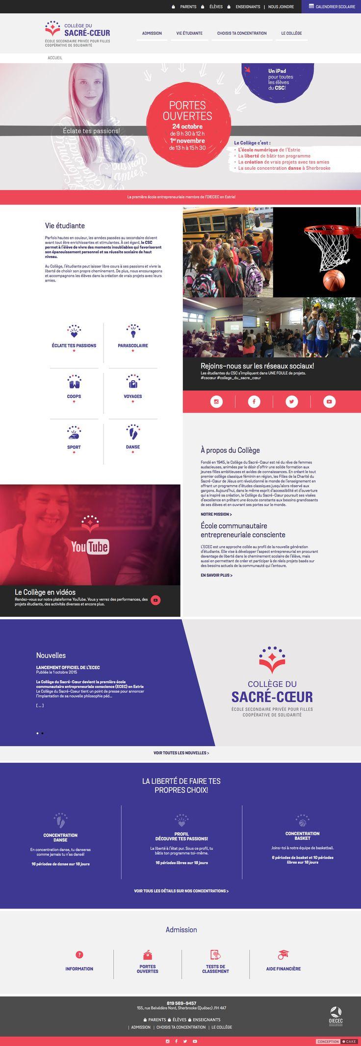 cscoeur.ca Conception du site Web du Collège du Sacré-Coeur. Design / Website