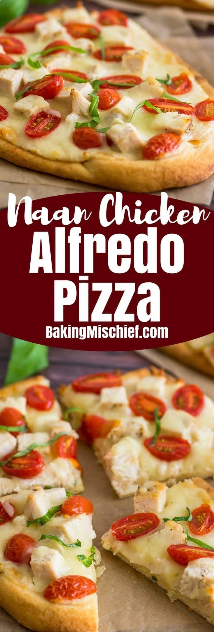 This Naan Chicken Alfredo Pizza issuper easy, so good, and just a bit classier than your usual delivery pizza. | Homemade Pizza | Recipe for Two | Dinner for Two |
