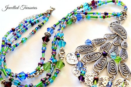 Peacock collection - Seed & Czech bead necklace - one of a kind