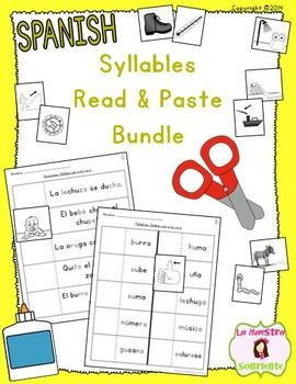 read and paste syllable activities bundle spanish texts us and all. Black Bedroom Furniture Sets. Home Design Ideas