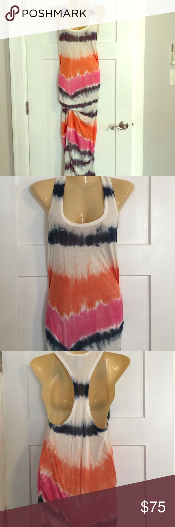 Maxi racerback dress Tie dye dress with white, blue, orange and pink. Very light weight and comfy for summer. Very long- I had a tailor use ruching on the sides to make it shorter, but it is still extremely long so you may need to hem. Size small but I am medium and fits fine. Perfect condition Young Fabulous & Broke Dresses Maxi