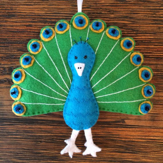 Peacock Felt Ornament Hand-Stitched with Embroidery, Beads & Sequins
