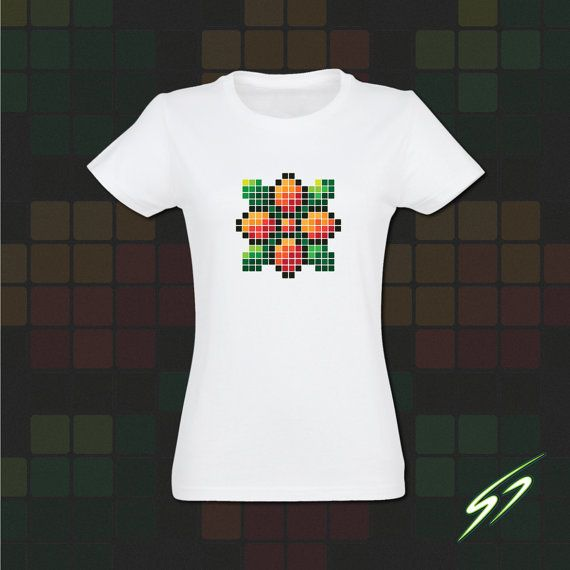 Pixel Flower T-Shirt Women's T-Shirt Fashion by SawagePrints