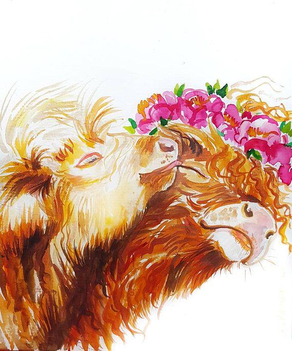 Kissing Highlander cows original watercolor painting cow art farm animals nursery decor cute gift for kids highland cow #cow #farm #kiss