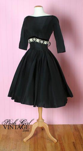 1950's: Dresses Style, Ben Reig, 1950S Ben, Little Black Dresses, 60S Style, Reig Black, 50S Dresses, 1950S Fashion, 1950S Prom Dresses