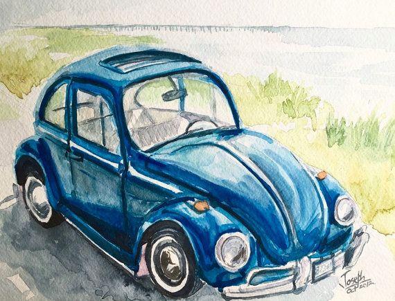 Watercolors painting original Car Painting by TheJoeyStudio ---- Buy Original Watercolor Paintings from my etsy shop http://www.etsy.com/shop/thejoeystudio