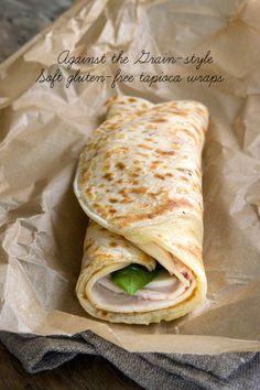 Soft Gluten Free Tapioca Wraps == Gluten Free on a Shoestring (Ingredients: 1 C milk, 2-1/2 C tapioca starch, 1/4 tsp. salt, 3 T oil, 1 egg (beaten), 7 oz. low-moisture mozzarella cheese, 2 oz. finely grated parmigiano-reggiano cheese)