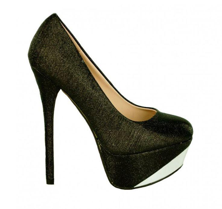 Pantofi Dama Brilliant Black  -Pantofi dama cu toc  -Toc 15cm  -Platforma 4,5cm  -Design insertie fina lame