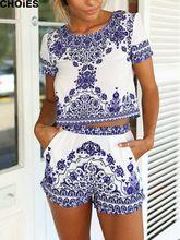 CHOIES Women Retro Vintage Tile Prints Blue White Porcelain Pattern Short Sleeve Crop Top And Shorts Set Summer 2015 New(China (Mainland))
