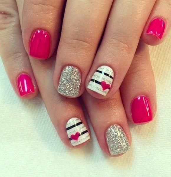40 Cute Valentine S Day Nail Designs You Can Diy Acrylic Nails Red Nails Valentine S Day Nail Simple M Nail Designs Valentines Heart Nails Valentines Nails