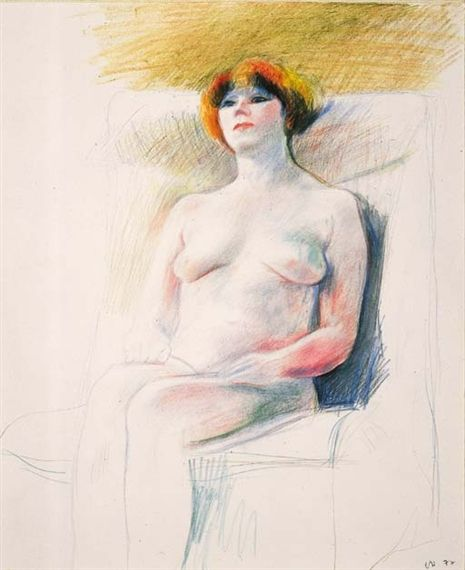 David Hockney, Marinka Nude, colored pencils on paper