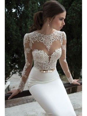 Trumpet/Mermaid Long Sleeves Satin Sweep/Brush Train Lace Wedding Dresses - Wedding Dresses