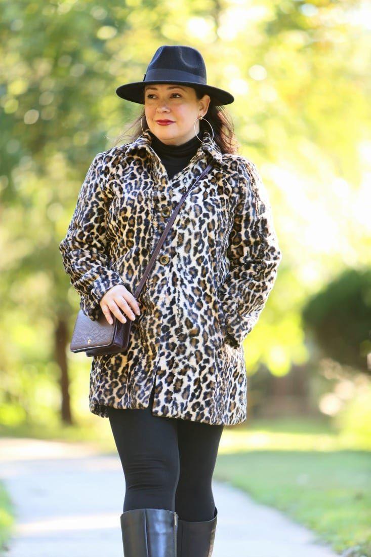 40111d419be What I Wore  Chico s Leopard Print Faux Fur Coat