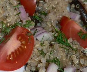 A simple quinoa recipe - Quinoa With Eggplants, Tomatoes, Dill And Red Wine Vinegar Dressing: http://www.tastygalaxy.com/cook/how-to-cook-quinoa/ | TastyGalaxy.com