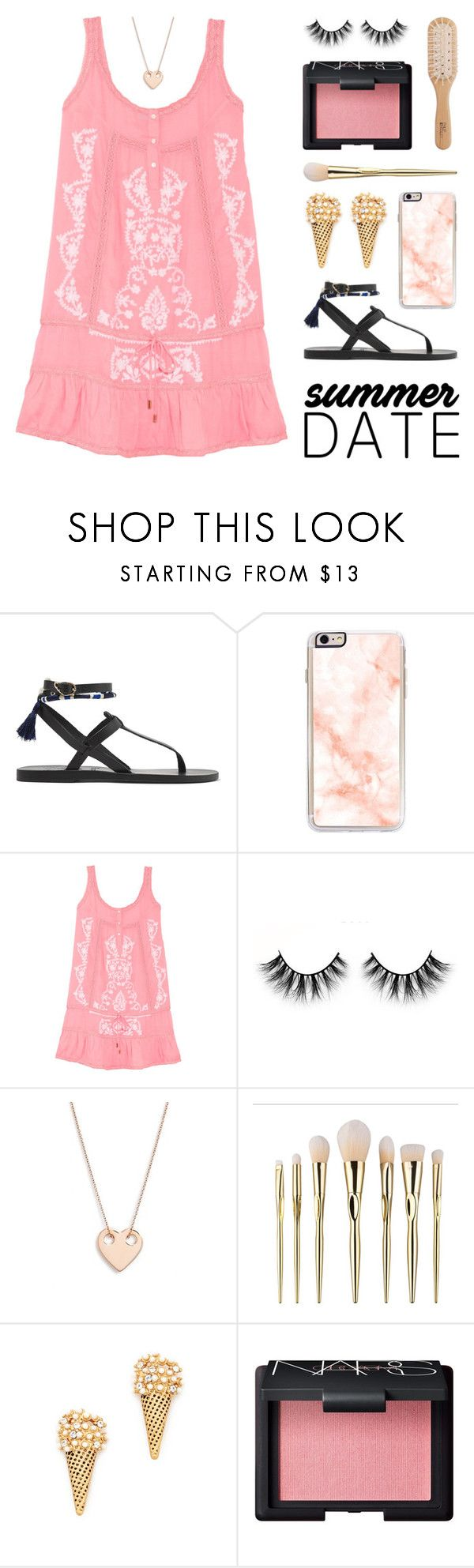 """Summer Date Night"" by lgb321 ❤ liked on Polyvore featuring Ancient Greek Sandals, Zero Gravity, Melissa Odabash, Ginette NY, Marc Jacobs, NARS Cosmetics, Philip Kingsley, Summer, polyvoreeditorial and summerdate"