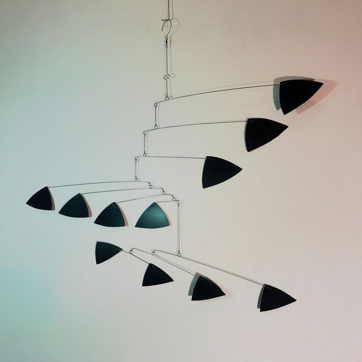Adult Mobile - Original mobile sculpture by Carolyn Weir of Skysetter Designs - Made to order - Black triangle style mobile.  We can also make this mobile in gr