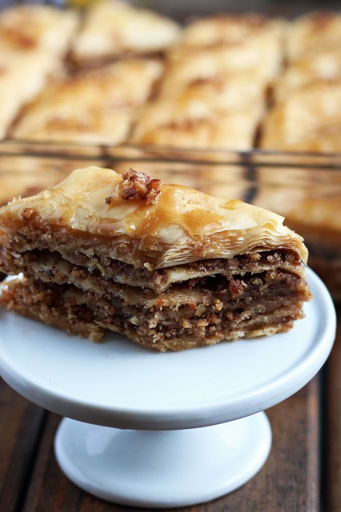 Maple Pecan Baklava Recipe - the classic Mediterranean dessert bars gets a new twist with pecan nuts and maple syrup.