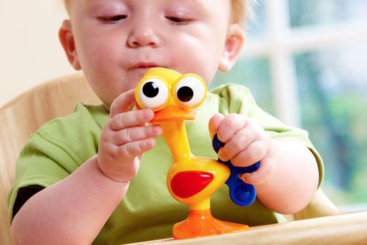 Gekke ogen vogel  Onze Gekke Ogen Vogel zal iedereen aan het lachen maken! De beweegbare ogen kunnen worden neergezet op ontzettend veel grappige manieren! De vogel heeft ook een klikkend hoofd en voeten, een rammelend lichaam en piepende vleugels. Makkelijk vast te pakken.  De buigzame staart is perfect voor de tandjes!   Formaat: 12 x 7 x 13 cm  3 maanden+