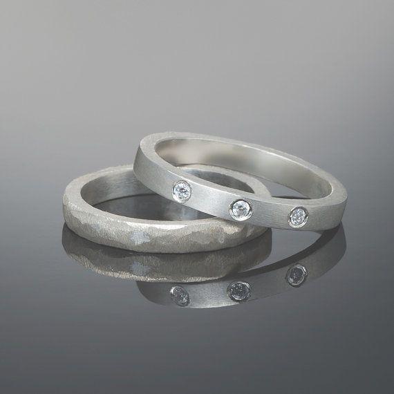 Stacking modern wedding ring set Simple by RAVITKAPLANJEWELRY