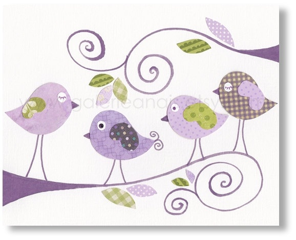 Nursery art prints, baby nursery decor, nursery art, children print, baby art, nursery bird, Purple, Gossip Birds 8x10 print