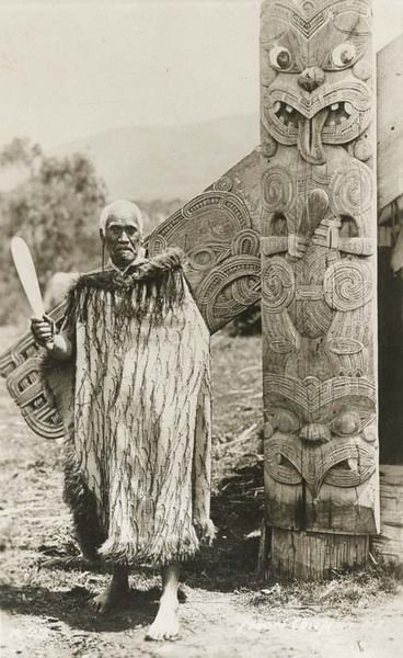 Maori Chieftain holding a Mere (patu or club) New Zealand (Polynesia), n.d.