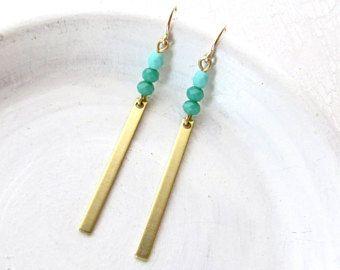 Turkoois oorbellen / bengelen oorbellen / gouden oorbellen / Boho oorbellen / moderne oorbellen / lange oorbellen / minimalistische oorbel / Simple sieraden
