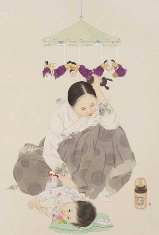 출산후 아이와 함께하는 모습을 그리기 시작하면서 그림이 더 풍성해짐.