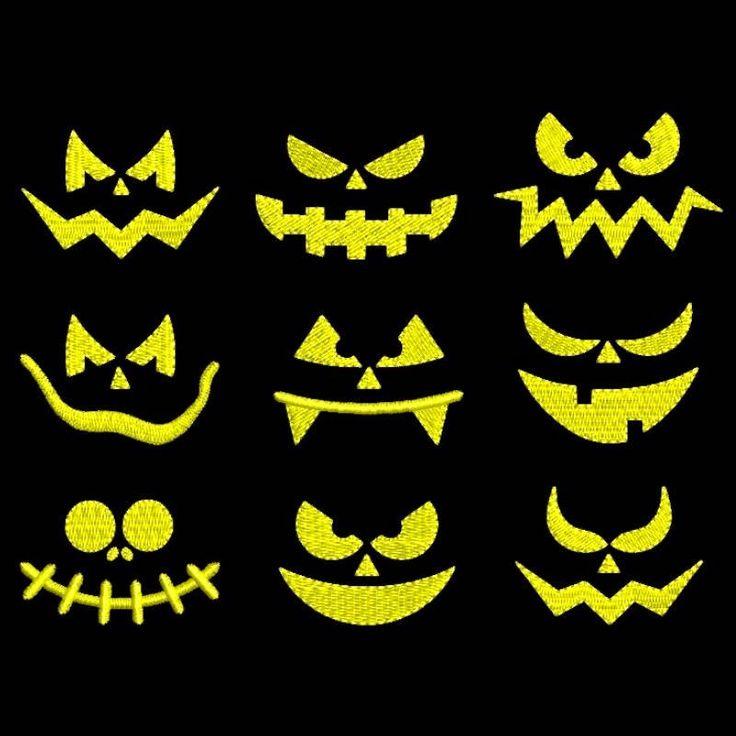 Halloween face embroidery machine designs set pack pumpkin instant digital download towel design hoop file by SvgEmbroideryDesign on Etsy