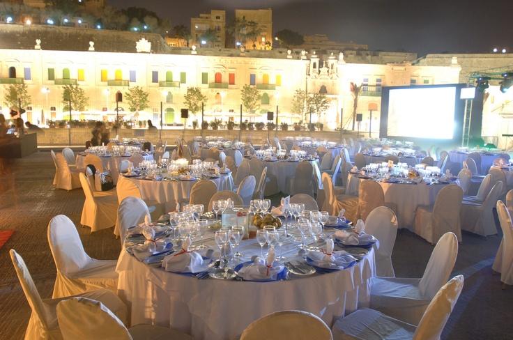 Valletta offers an impressive backdrop to a gala dinner al fresco...