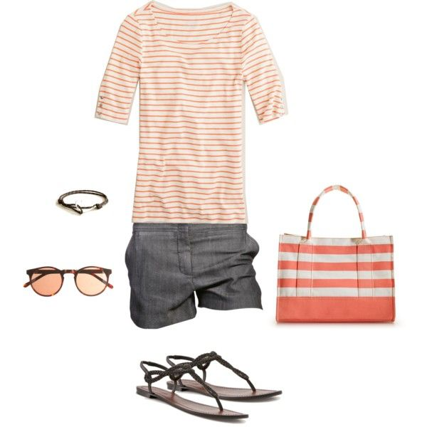 Almost Spring...orange!Beachy Outfit, Summer Styles, Summer Outfit, Beachy Casual, At The Beach, Casual Looks, Stripes, Peachy Beachy, Beachy Wear
