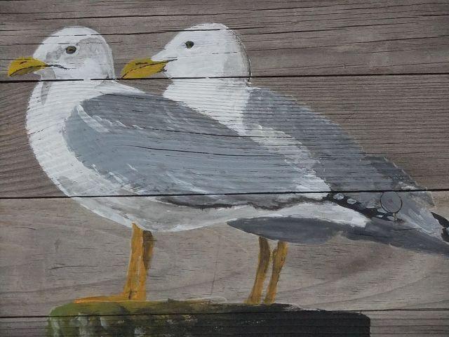Möwen, Acryl auf altem Holz von Palettes-Bilder-Shop auf DaWanda.com