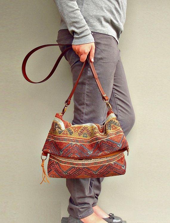 Crossbody Purse - Messenger Bag Aztec -  Converts to Tote - Southwest Aztec Tribal (no4). $68.00, via Etsy.