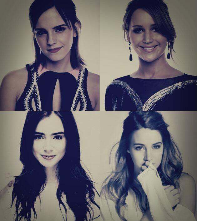 Emma Watson, Jennifer Lawrence, Lily Collins, and Shailene Woodley