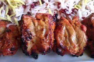 Chicken kebabs in yogurt marinade