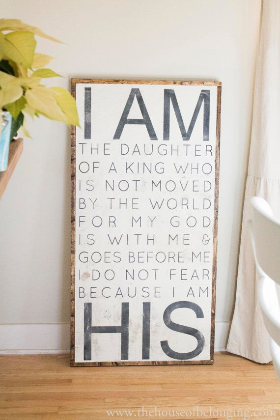 Hand Painted Sign I am HIS by TheHouseofBelonging on Etsy, $125.00