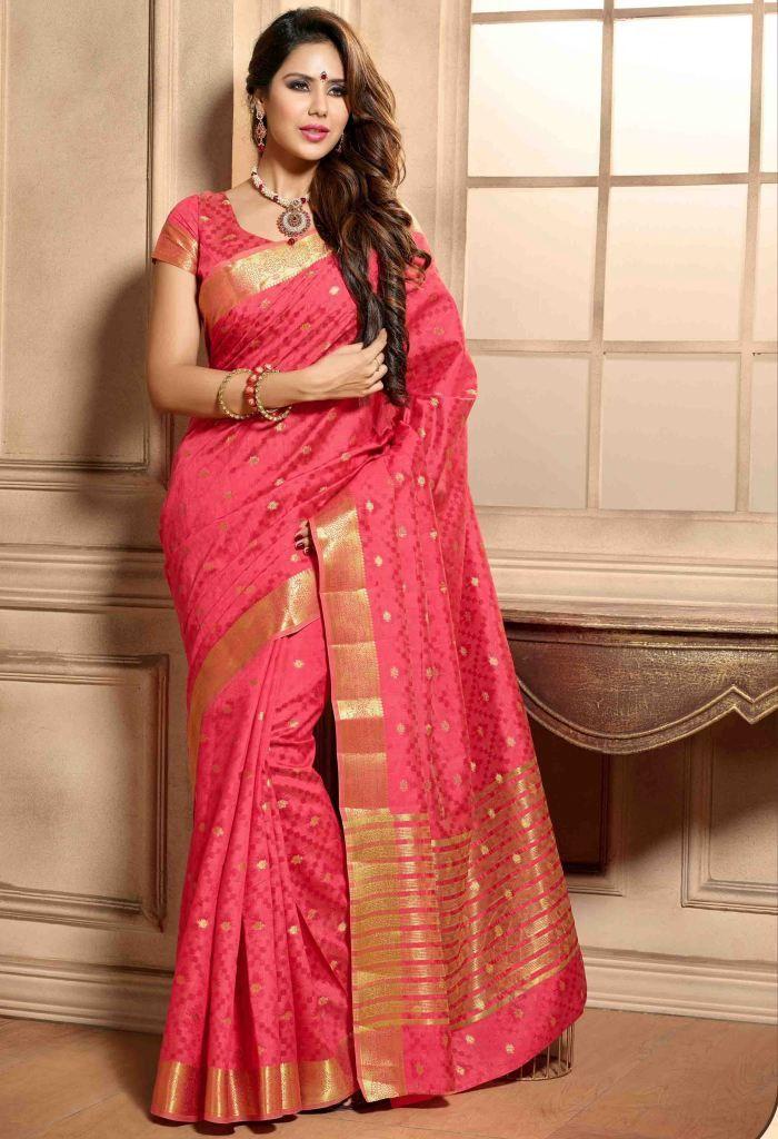 Red Printed Traditional Silk Saree 36499