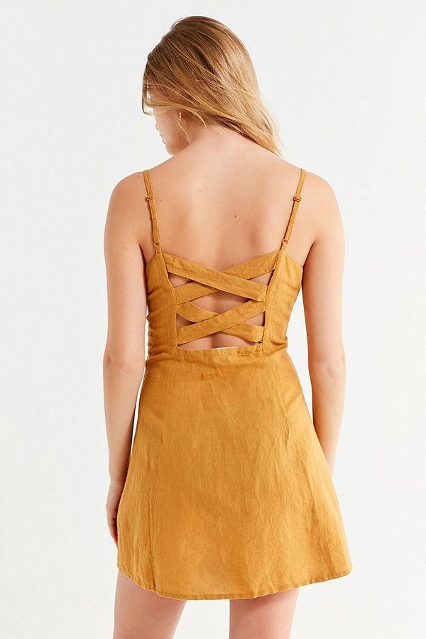 3a90d08441d Slide View  6  UO Button-Down Strappy Back Linen Dress