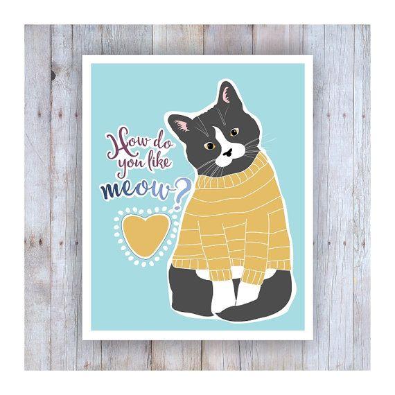 Afdrukken van de kat, Cat Art Print, Cat Poster, kat woordspeling, kat Artwork, Hippie Kunst, kat Decor, redding van de kat, meisjes slaapkamer