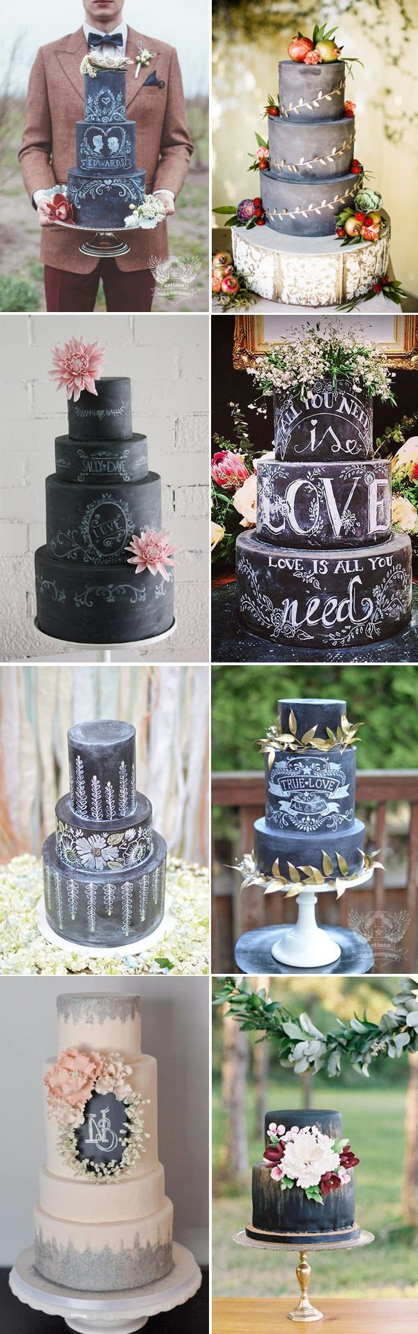 Rustic Wedding Cake Ideas - Black and White Chalkboard Wedding Cakes: