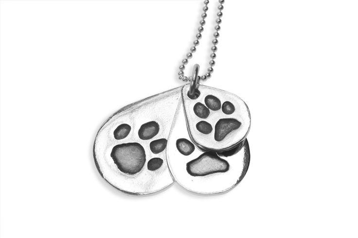 Triple descending paw print pendant on ball chain   www.silverpetprints.com