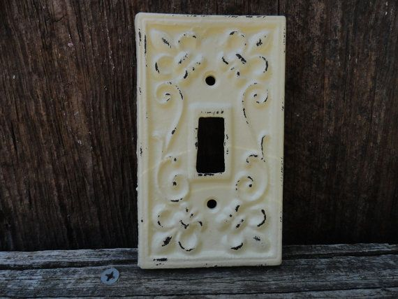 Antique white light switch cover fleur de lis pattern cast iron light plate cover electrical - Wrought iron switch plate covers ...
