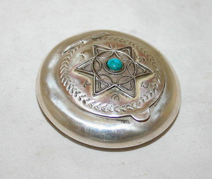 Antique Judaica Snuff Tobacco Box Bezalel Sterling Silver Jerusalem circa 1920s