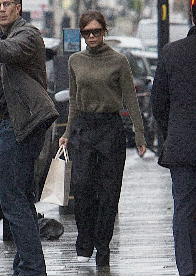 Victoria Beckham in Victoria Beckham and White Shoes in London