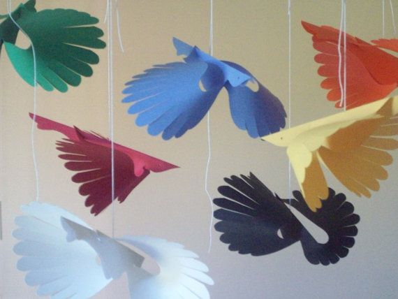 Paper Things--Seven Primary Flying Paper Birds