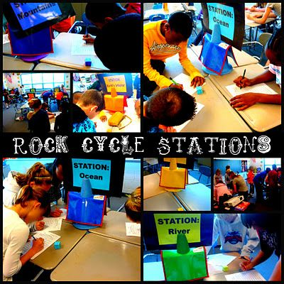 Rock Cycle activity - students roll dice at each station (river, ocean, mountain, etc) to find out where their rock goes next maybe use in weathering. Do the same, but have students Start as a landform then see what happens as they go through different weathering stations and see how their landform changed