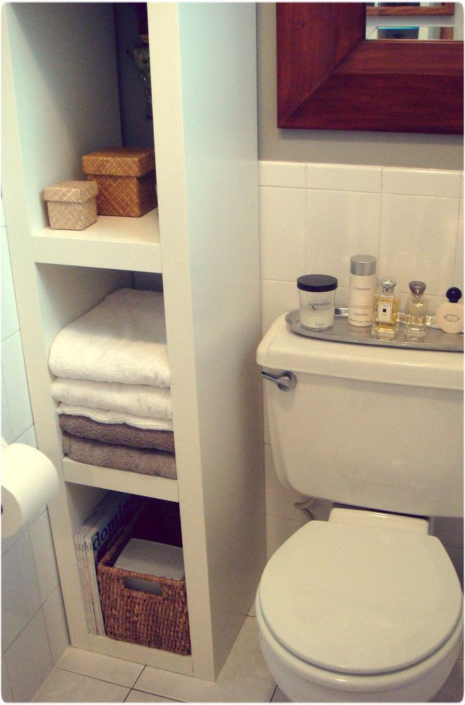 Best 25 ideas for small bathrooms ideas on pinterest small spaces storage for small bathroom for Bathroom shelving ideas for small spaces