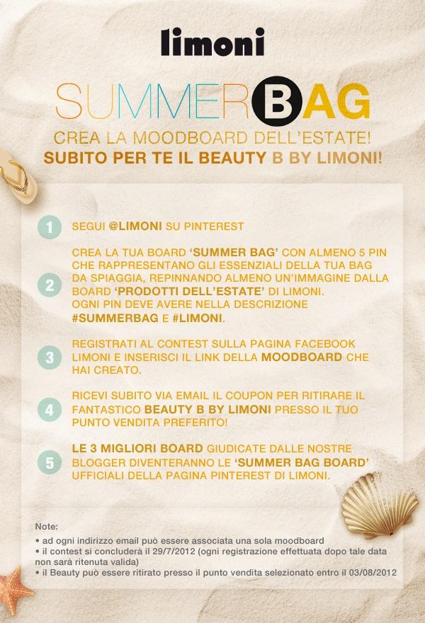 Partecipa al contest più cool dell'estate. Cosa non può mancare nella tua bag da spiaggia? Ricordati di taggare la tua Moodboard con #limoni #summerbag