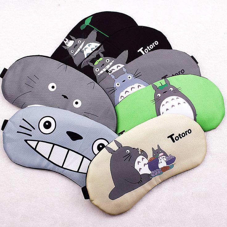 Cute Cartoon Totoro Sleep Mask Travel Relax Sleeping Aid Blindfold Ice Cover Eye Patch Sleeping Mask Case Black 1Pcs